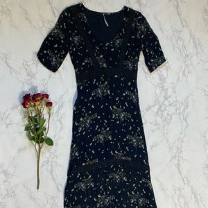 Free People floral lace hem long black dress xs